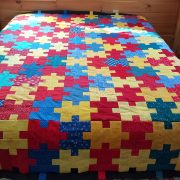 Puzzlie Quilt Top in Primary Colors