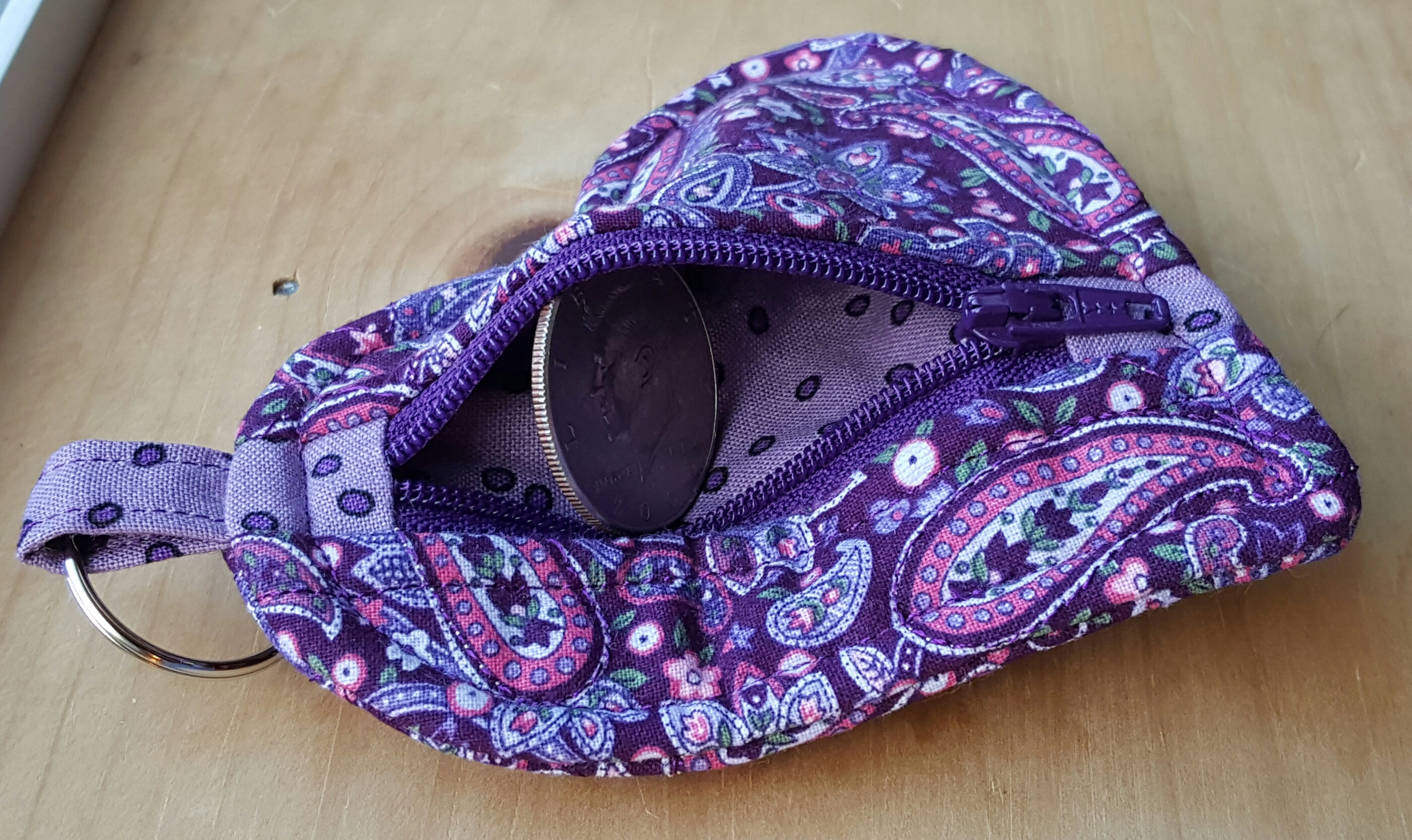 Heart Shaped Zippered Keychain Purse Maine Quilt Company