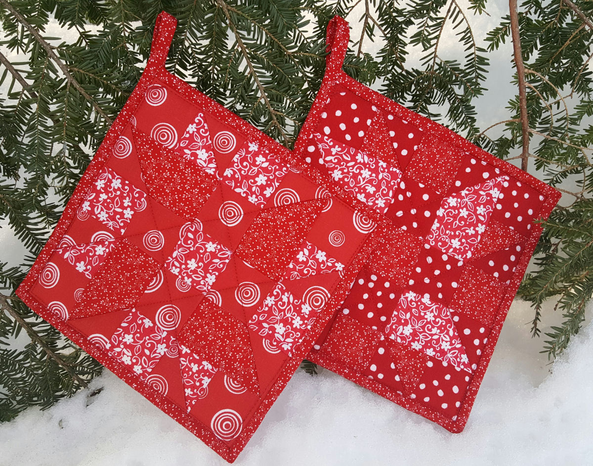 Red Quilted Patchwork Potholder Pair Maine Quilt Company