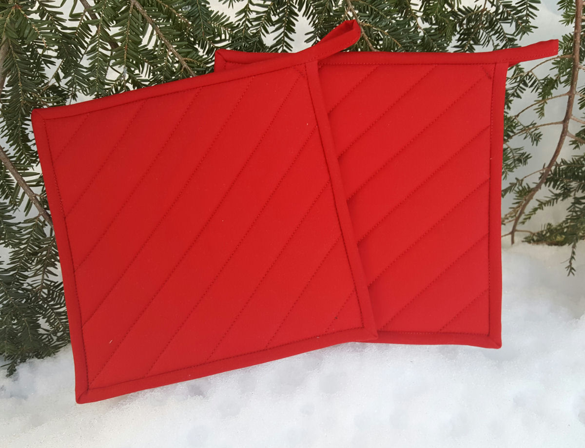 Solid Color Quilted Potholder Maine Quilt Company
