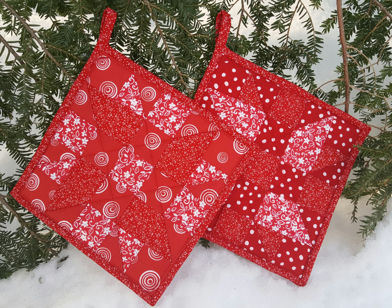 Red Quilted Pieced Potholder